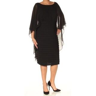 Womens Black Long Sleeve Knee Length Sheath Casual Dress Size: 18W