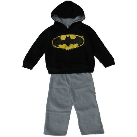 DC Comic Little Boys Batman 2pc Black Hooded Sweatshirt Gray Pants Outfit