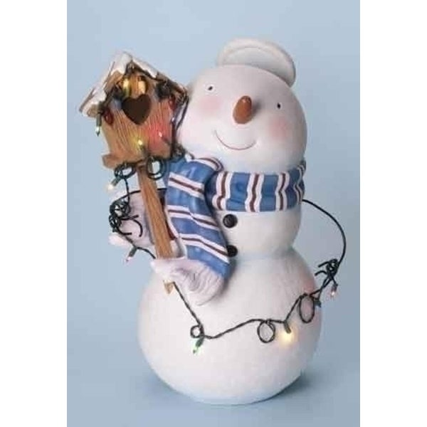 """25"""" Lighted Snowman with Halo and Birdhouse Christmas Figure"""