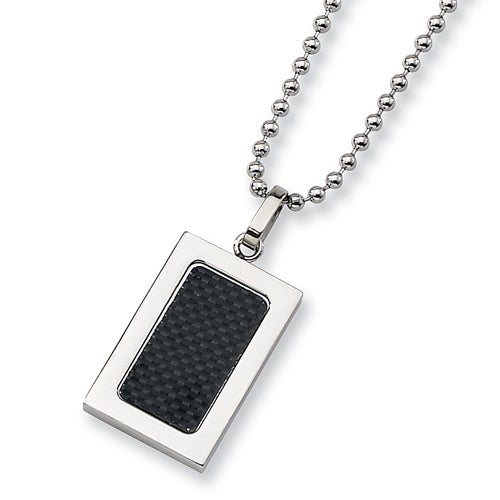 Chisel Stainless Steel Pendant with Black Carbon Fiber Inlay on 22 Inch Bead Chain (2 mm) - 22 in