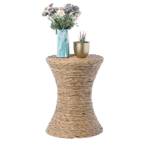Decorative Round Wicker Side Table Hourglass Shape Accent Coffee Table