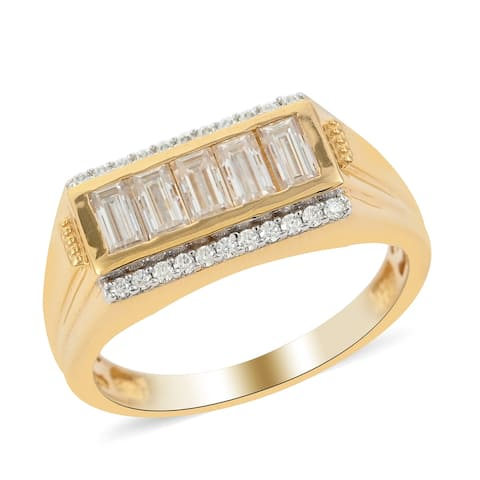 Vermeil Yellow Gold Over 925 Silver Moissanite Ring Men Ct 1.4