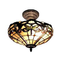 "14"" Antique Bronze Cabrinin Hand Crafted Glass Tiffany-Style Semi-Flush Mount Ceiling Light Fixture"
