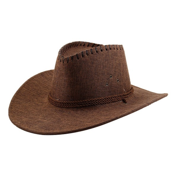 8ae6a4f2191 Adjustable Neck Strap Wide Brim Western Style Sunhat Cowboy Hat Coffee Color