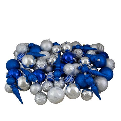 75ct Blue and Silver Shatterproof 3-Finish Christmas Ball Ornaments