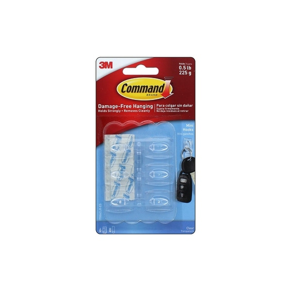Command Adhesive Hook Mini Clear 6pc