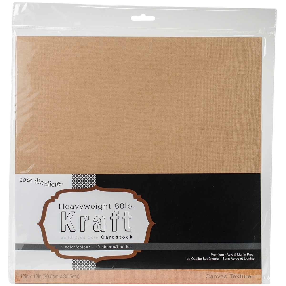 Kraft 10-Pack 12 by 12-Inch//80-Pound Darice Coredinations Canvas Cardstock