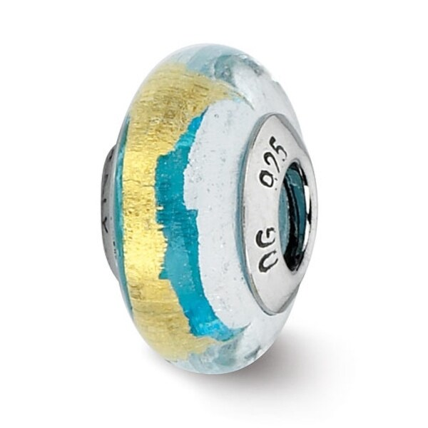 Italian Sterling Silver Reflections Turquoise/Silver/Gold Bead (4mm Diameter Hole)