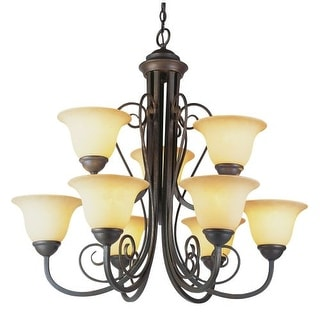 Trans Globe Lighting 6529 Nine Light Up Lighting Two Tier Chandelier from the New Century Collection