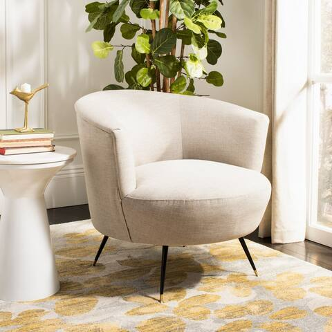 "Safavieh Arlette Velvet Retro Mid Century Accent Chair - Light Grey - 32"" x 33"" x 31.5"""