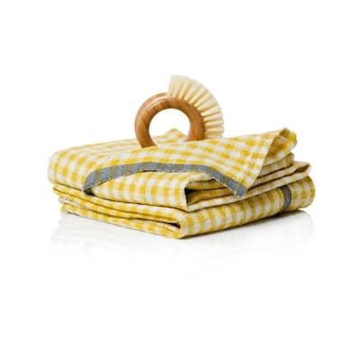 Gingham Dijon/Grey Towels 20x30 - Set of 2