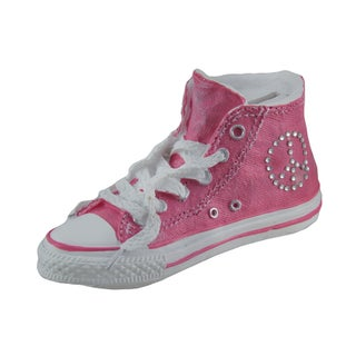 Retro Peace Sign Hi-Top Sneaker Coin Bank (Option: Pink)