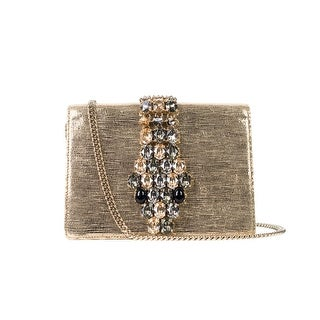 Cavalli Womens Metallic Gold Lamé Crystal Mini Shoulder Bag - S