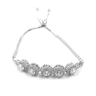 Sterling Silver Adjustable Center Stone Tennis Bracelet W Clear Cubic Zirconia