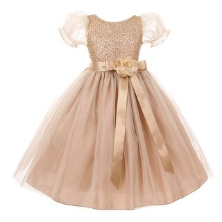Girls Champagne Glitter Floral Adorned Tulle Junior Bridesmaid Dress 8-12 (3 options available)