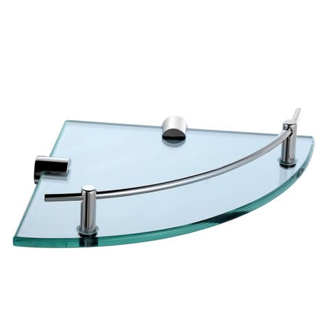Bathroom Corner Shelf with Tempered Glass and Chrome Rail Solid Brass, Bathroom Accessory, Shower Shelf, Wall Mounted