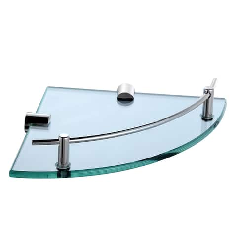 Glass Corner Shelf with Solid Brass Chrome Finish Railing