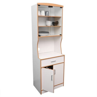 Large Wood Microwave Cabinet, White