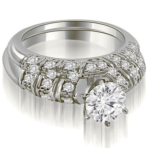 1.35 cttw. 14K White Gold Antique Round Cut Diamond Bridal Set