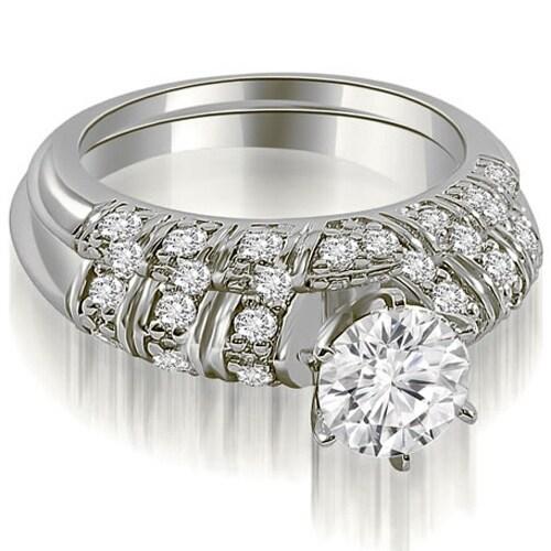1.85 cttw. 14K White Gold Antique Round Cut Diamond Bridal Set