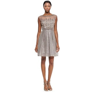 Kay Unger Embellished Bodice Cap Sleeve Cocktail Dress