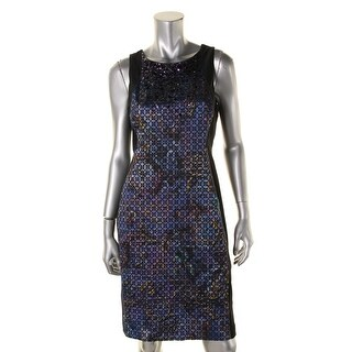 Adrianna Papell Womens Petites Sequined Printed Cocktail Dress - 10P