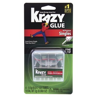 Elmer's Krazy Glue Multi-Purpose Instant Glue, 0.017 oz Single Use Tube, Clear, Pack of 4