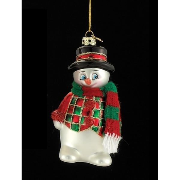"""4.5"""" Noble Gems Glass Snowman with Red and Green Scarf Christmas Ornament"""