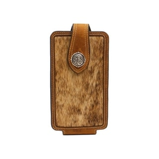 Nocona Western Cell Phone Case Calf Hair Leather Medium Brown - Medium Brown