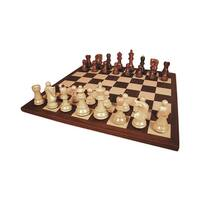 Rosewood Old Russian Chess Set With Dark Rosewood Board - Multicolored