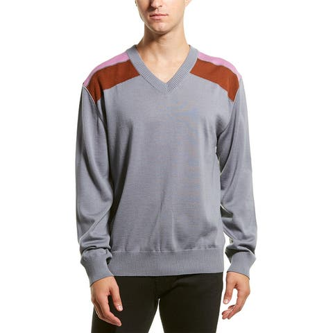 Lanvin Shoulder Bands V-Neck Wool-Blend Sweater - Grey