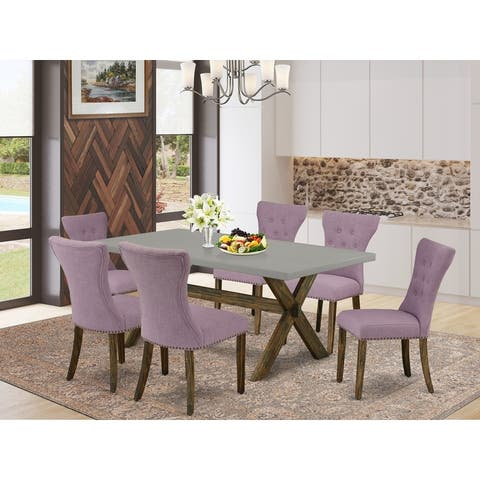 Dining Set Included Parson Chairs and Rectangular Cement Table in Distressed Jacobean Finish