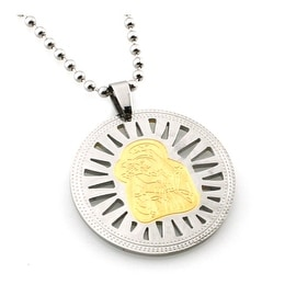 Stainless Steel Mother Mary & Baby Jesus Two-Tone Disc Pendant - 24 inches