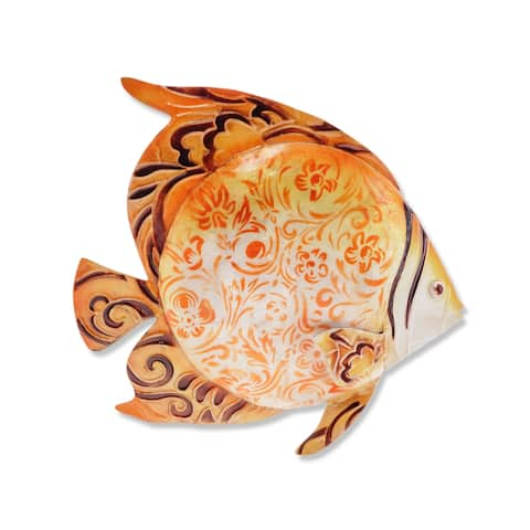 Handmade Orange Fish Metal Art Wall Decor