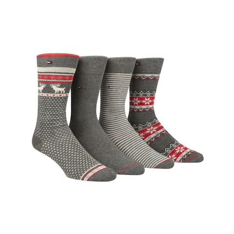 Tommy Hilfiger Mens Crew Socks Fair Isle Holiday - 7-12