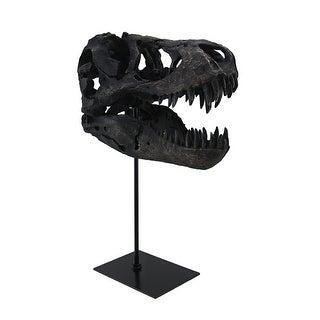 T-Rex Dinosaur Skull Mounted Tyrannosaurus Rex Fossil Statue - 12 X 10 X 6 inches