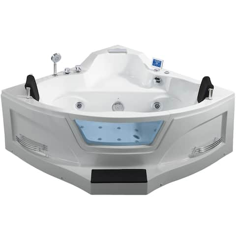 """Ariel ARL-084 61"""" Acrylic Corner Alcove Whirlpool Bathtub with Waterfall Tub Filler Faucet and Center Drain - White"""