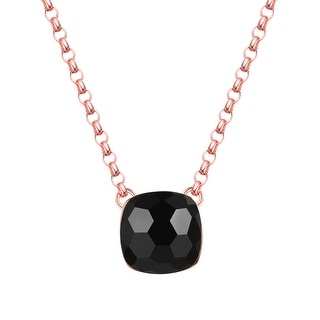 Vedantti Mini Honeycomb Cut Black Onyx Gemstone Protector Solitaire Necklace