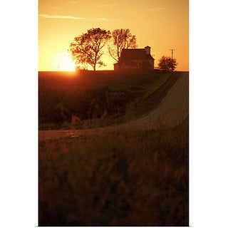 """""""Silhouette of farmhouse at sunset"""" Poster Print"""