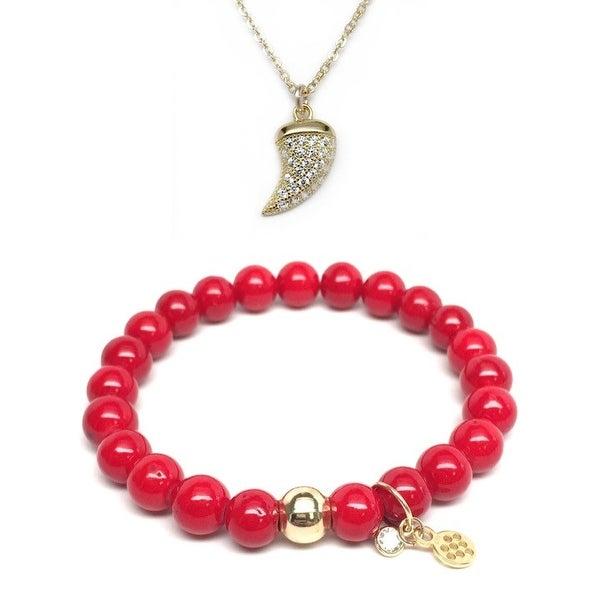 """Red Jade 7"""" Bracelet & CZ Horn Gold Charm Necklace Set"""