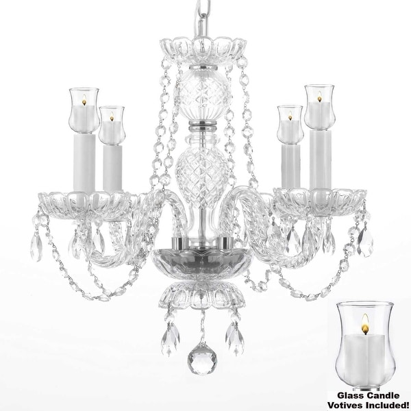 Crystal Chandelier Lighting With Candle Votives H17 x W17 For Indoor/Outdoor Use