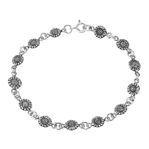 Handmade Jovial Chain of Sunflowers Sterling Silver Floral Charm Bracelet (Thailand)
