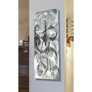 """Statements2000 Silver Metal Wall Clock Art Modern Silver Accent Decor by Jon Allen - Light Source Clock - 24"""" x 10"""""""