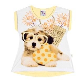 Toddler Girl Short Sleeve T-Shirt Summer Puppy Graphic Tee Pulla Bulla 1-3 Years