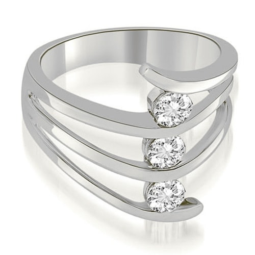 0.75 cttw. 14K White Gold Three Stone Tension Split Shank Diamond Wedding Ring