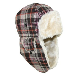Grand Sierra Boys' Plaid Trapper Hat with Faux Fur and Chin Strap