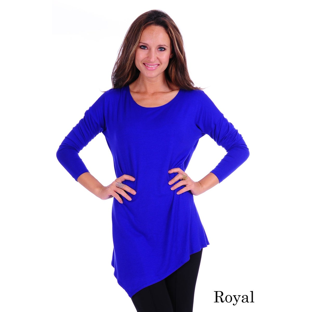 Simply Ravishing Women's Assymetrical Front/Back Handkerchief Hem Long Sleeve Tunic Top - Thumbnail 11