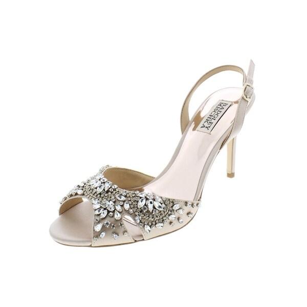 Badgley Mischka Womens Paula Dress Sandals Satin Embellished