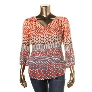Lucky Brand Womens Blouse Printed Tunic