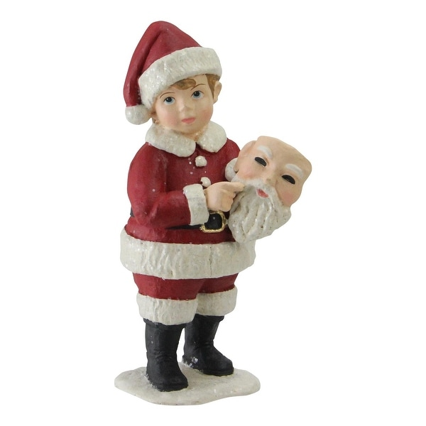 "5"" Santa Masquerade Boy in a Santa Suit Christmas Figure Decoration - WHITE"